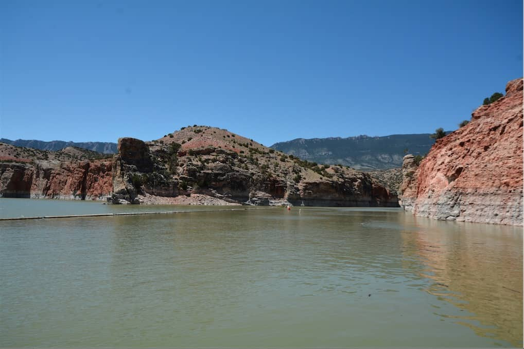 View from the bottom of the boat ramp at Barry's Landing in Bighorn Canyon National Recreation Area