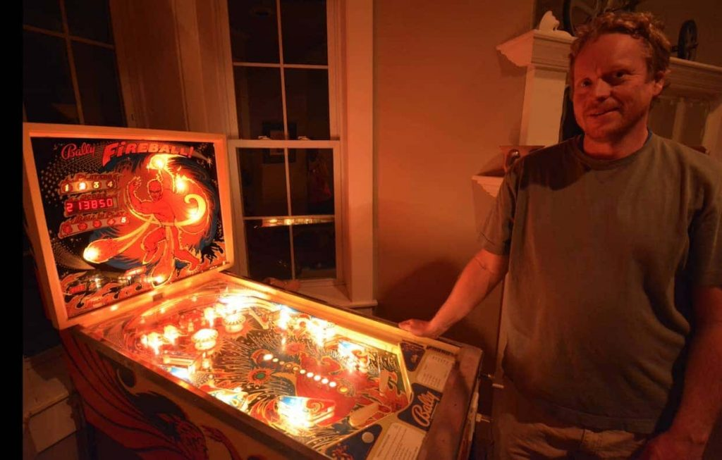 Homemade pinball machine (from a kit) in the den and music room of our Couchsurfing host in Sheridan Wyoming