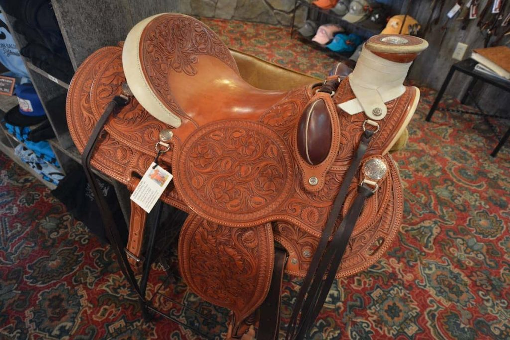Ornate Saddle Work on Display at Tom Balding Bits and Spurs in Sheridan Wyoming