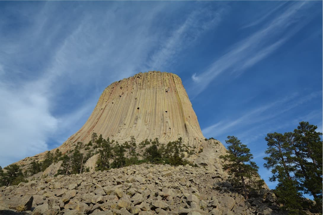 Looking upward toward Devils Tower