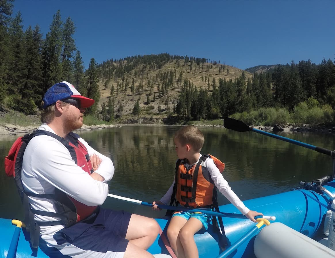 Father and Son Rafting the Clark Fork River Near Missoula Montana
