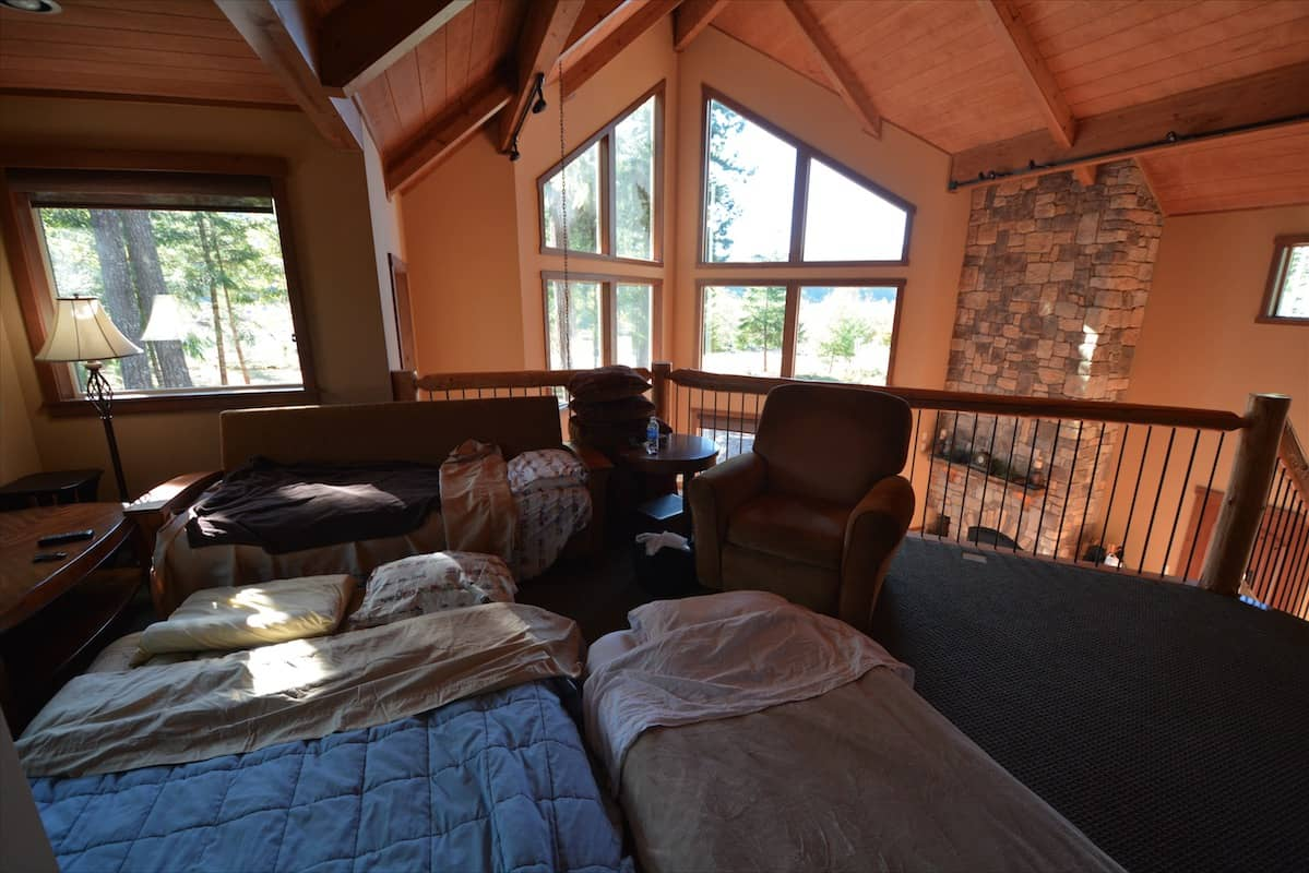 Inflatable mattresses in the loft a luxury log cabin near Mt. Rainier