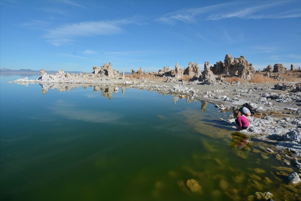 "A family explores ""Tufa's"" in Mono Lake, east of Yosemite National Park in California"