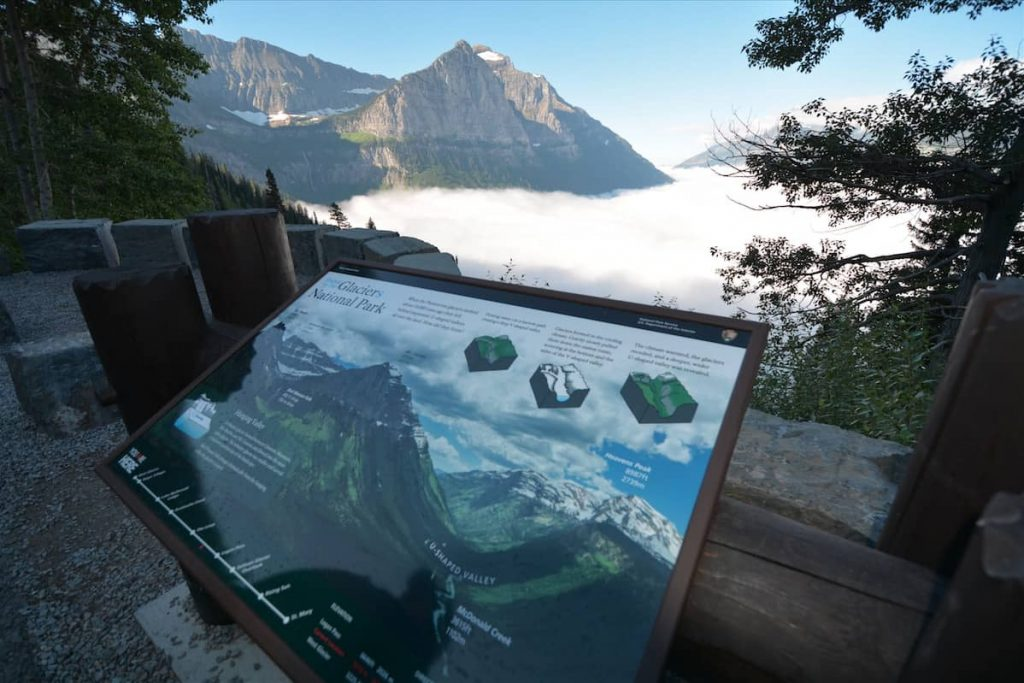 An interpretive sign in Glaciers National Park depicts the process of glaciation