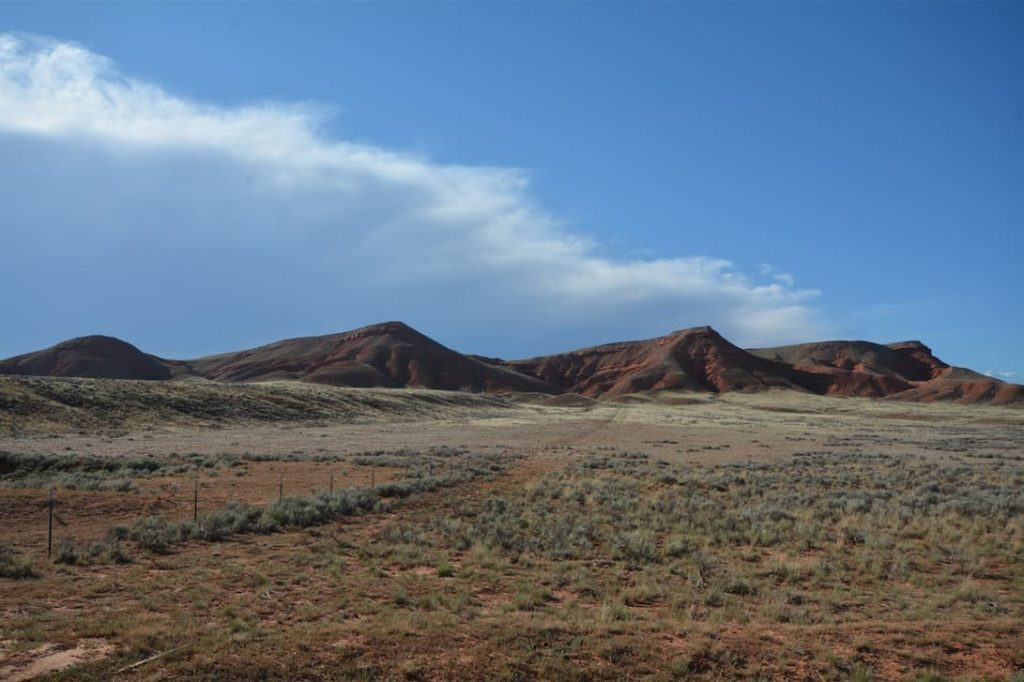 Red dunes and gulches abound on Red Gulch/Alkali Road, a Wyoming Scenic Backway