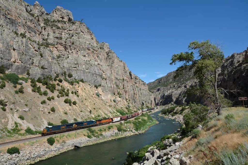 A Train Runs Through Shell Canyon in Bighorn National Forest
