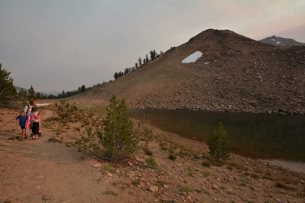 A family explores Lassen Volcanic National Park in Northern California