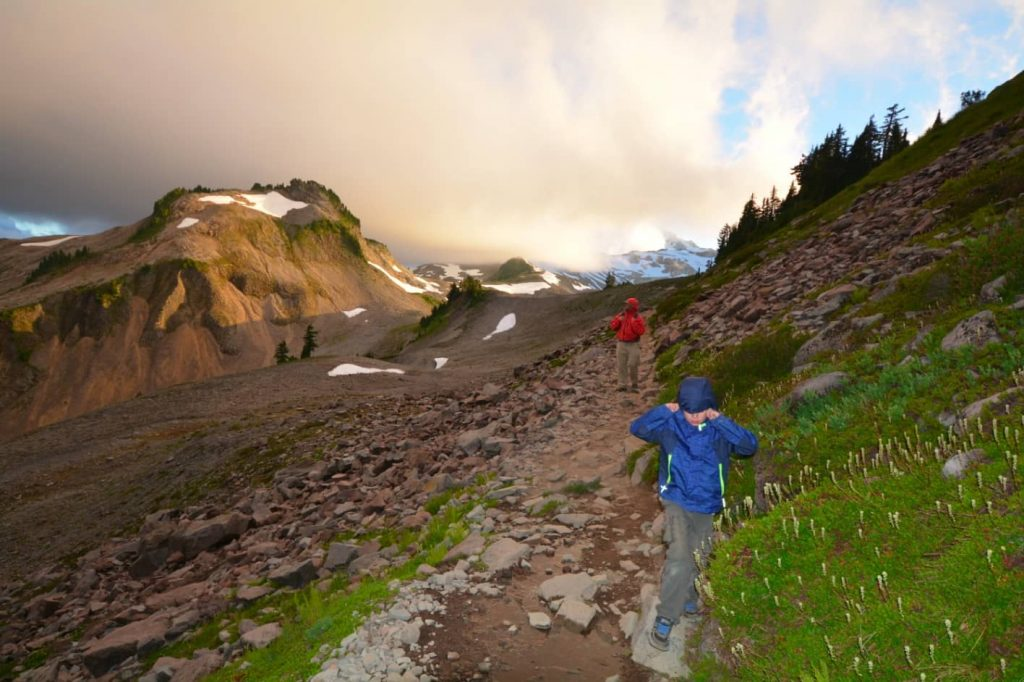 A boy and his dad hiking under Mount Rainier