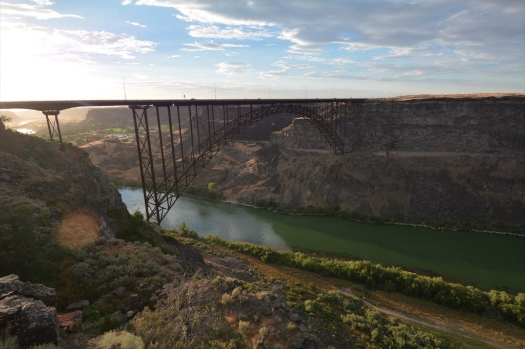 I.B. Perrine Bridge spans the Snake River Canyon at the town of Twin Falls, Idaho