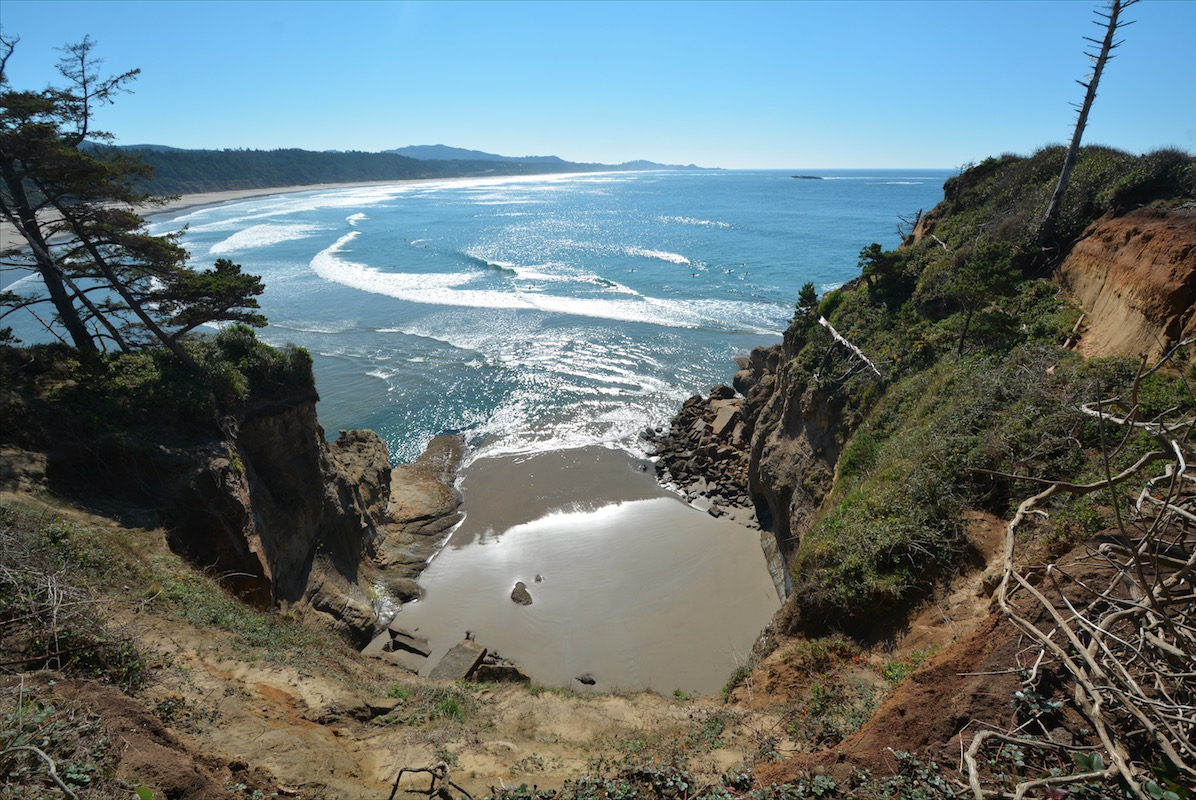A flooded beach along the Pacific coastline