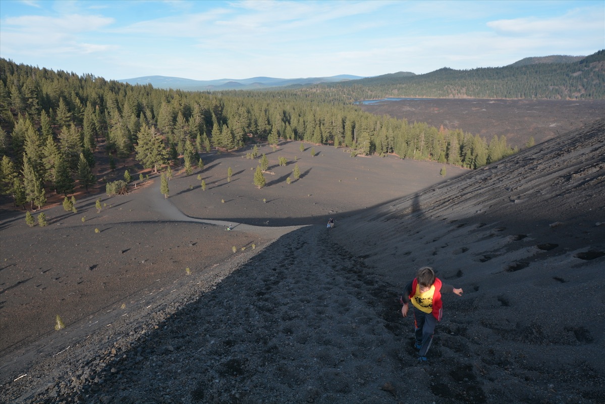 A boy hikes up what was formerly part of Cinder Cone National Monument is now a part of Lassen Volcanic National Park