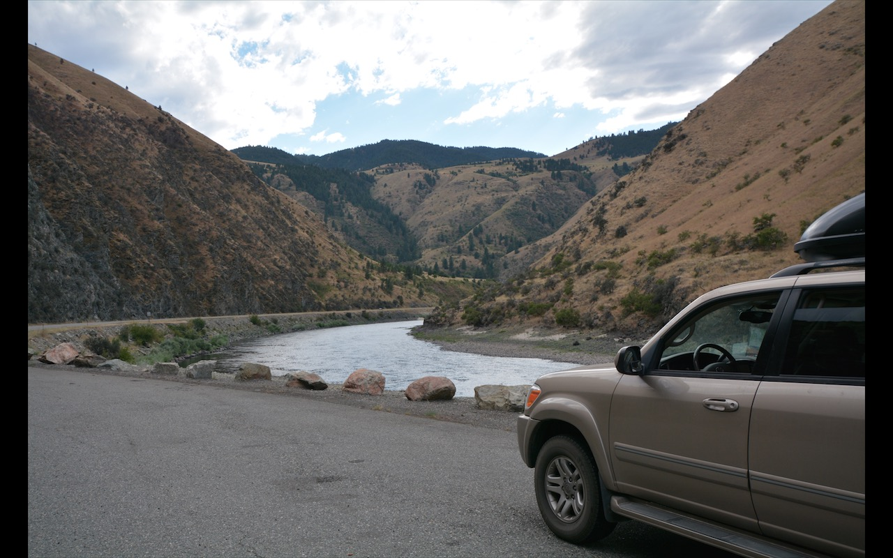 2006 Toyota Sequoia driving along the Snake River in Hell's Canyon Oregon