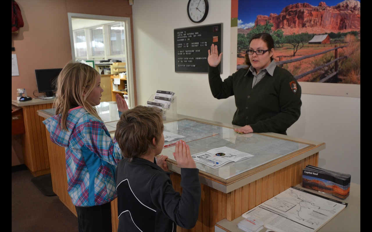 Junior Rangers being sworn in at Capitol Reef National Park, Utah